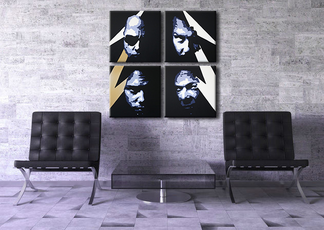 Tablou pictat manual POP Art METALFACES 4-piese 100x100cm