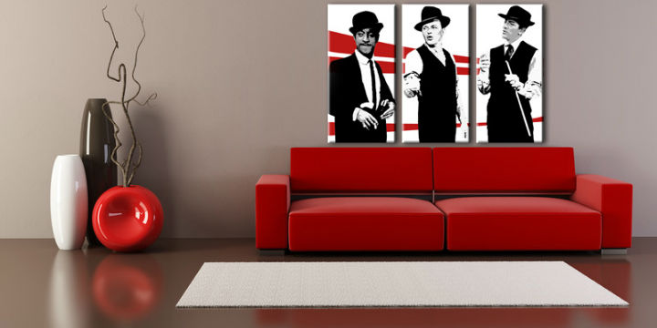 Tablou pictat manual POP Art Rat Pack 3-piese 120x80cm