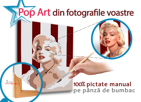 Tablou pictat manual POP Art – dreptunghi popartfoto