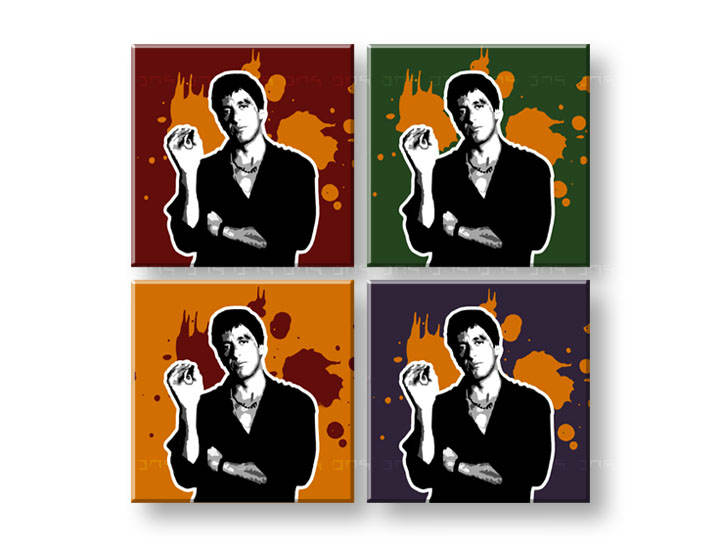 Tablou pictat manual POP Art Scarface - AL PACINO 4-piese 100x100cm