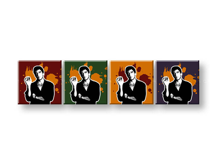 Tablou pictat manual POP Art Scarface - AL PACINO 4-piese 200x50cm