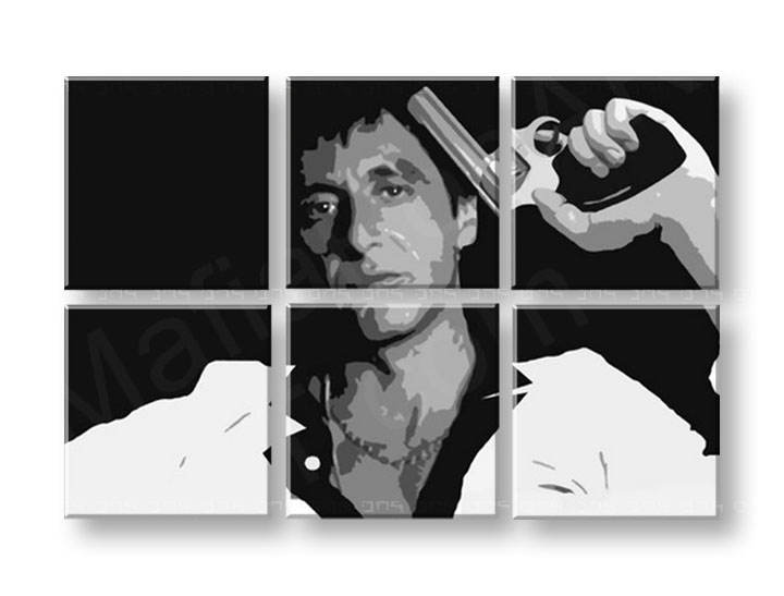 Tablou pictat manual POP Art Scarface - AL PACINO 6-piese 150x100cm