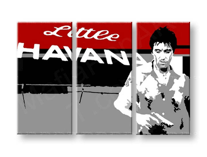 Tablou pictat manual POP Art Scarface - AL PACINO 3-piese 120x80cm