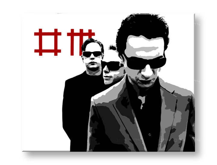 Tablou pictat manual Pop Art - Reducere 25 % Depeche Mode 80x100 cm YOBPPdep3/24h