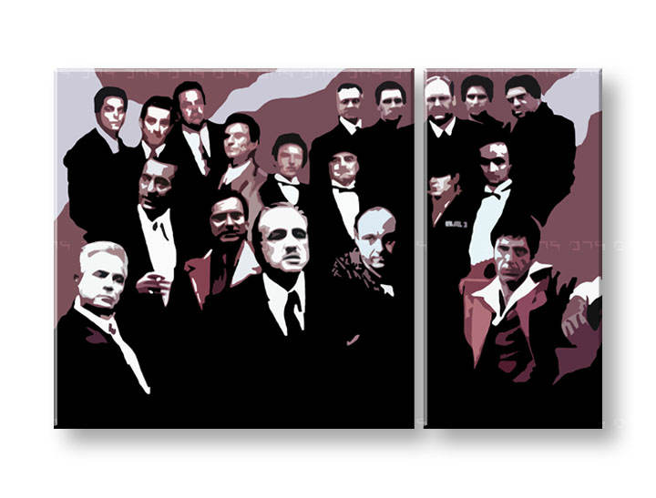 Tablou pictat manual POP Art The Mafia Family 1-piese 120x80cm