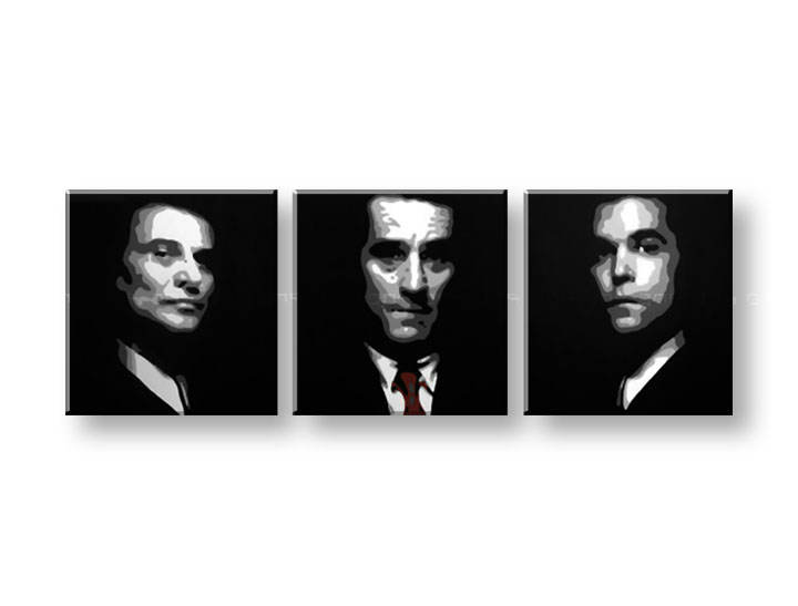 Tablou pictat manual POP Art Goodfellas 3-piese 150x50cm