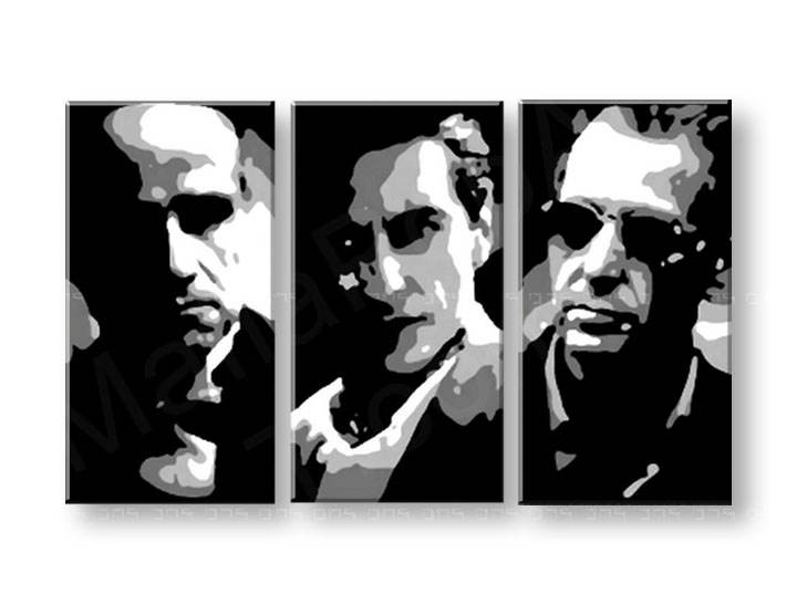 Tablou pictat manual POP Art GODFATHER 3-piese 120x80cm