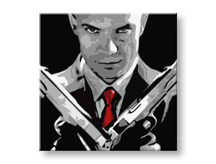 Tablou pictat manual POP Art HITMAN 1-piese 100x100cm