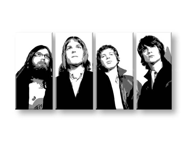 Tabluri POP Art pictate manual -30% Reducere Kings of Leon 4 piese 160x80cm