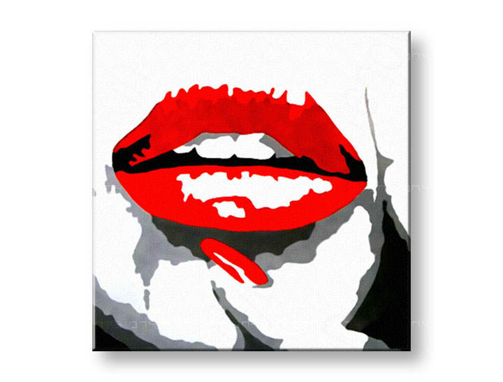 Tablou pictat manual POP Art RED LIPS 1-piese 100x100cm