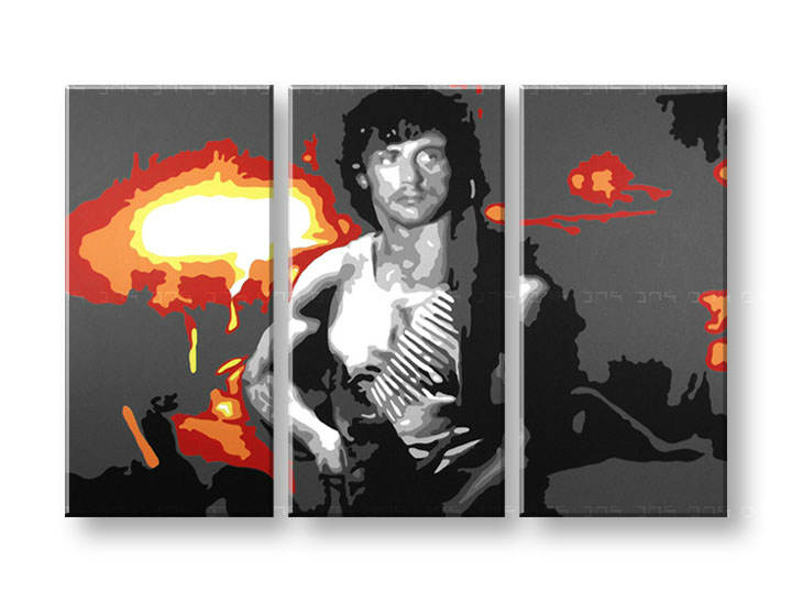 Tablou pictat manual Pop Art - Reducere 25 % Rambo 3-piese 120x80 cm ram/24h