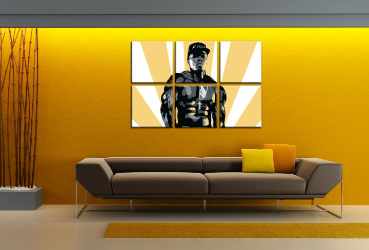 Tablou pictat manual POP Art 50 cent 6-piese 150x100cm