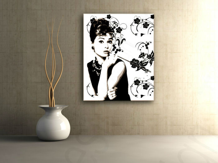 Tablou pictat manual POP Art Audrey Hepburn 80x100 cm