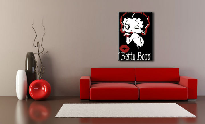 Tablou pictat manual POP Art Betty Boop 1-piese 70x100cm