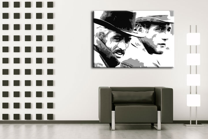 Tablou pictat manual POP Art Butch Cassidy 1-piese 100x70cm