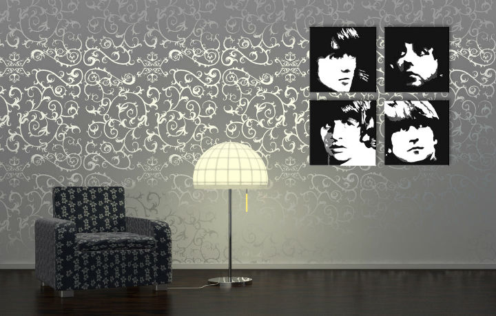 Tablou pictat manual POP ART BEATLES 4-piese 100x100cm