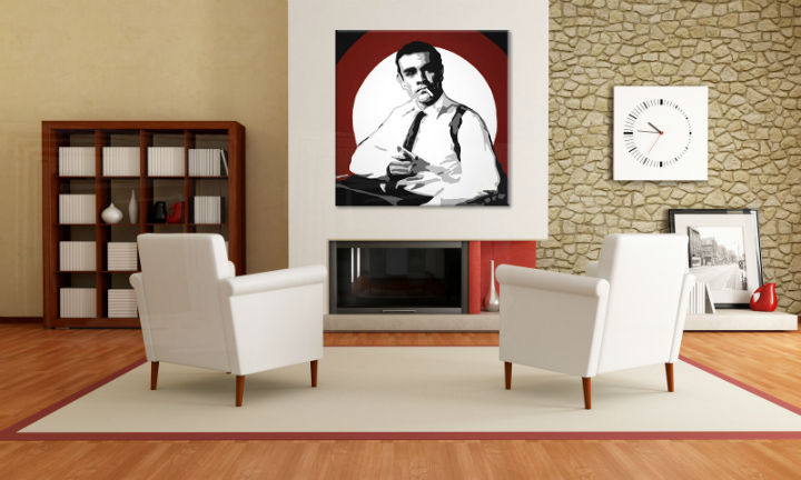 Tablou pictat manual POP Art James Bond 1-piese 100x100cm