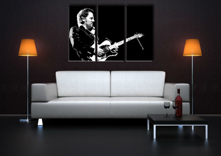 Tablou pictat manual POP Art Bruce Springsteen 3-piese 120x80cm