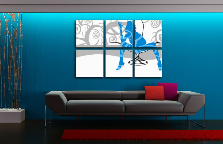 Tablou pictat manual POP Art  Blue Woman 6-piese 150x100cm
