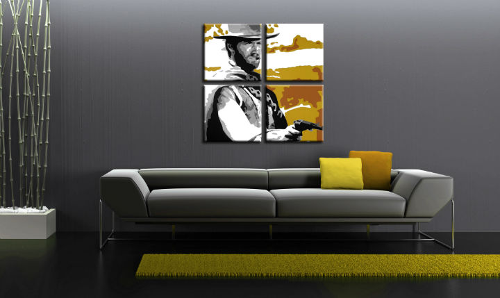 Tablou pictat manual POP Art Clint Eastwood 3-piese 120x80cm