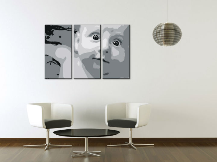 Tablou pictat manual POP Art CHILD 3-piese 120x80cm