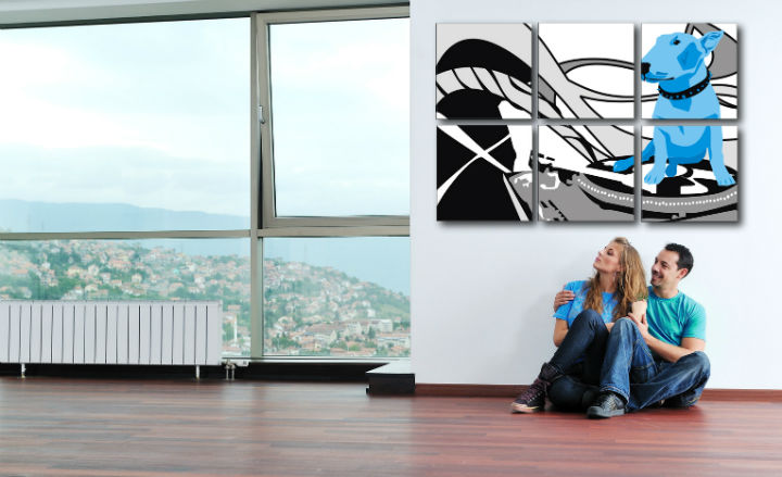 Tablou pictat manual POP Art Dog and DJ´S 6-piese 150x100cm