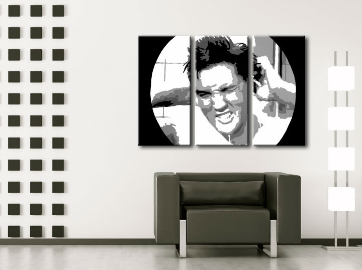 Tablou pictat manual POP Art ELVIS 3-piese 120x80cm