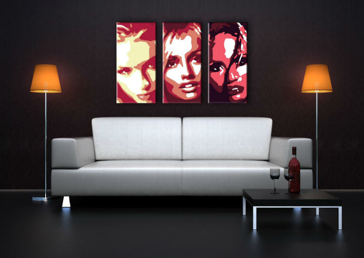 Tablou pictat manual POP Art Faces 3-piese 120x80cm