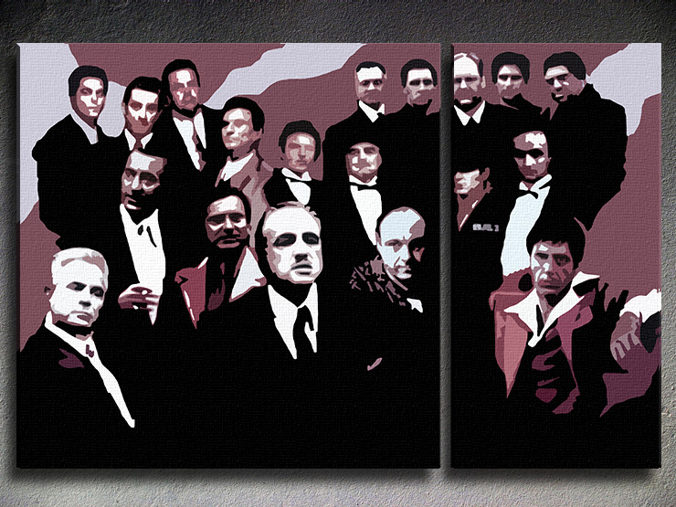 Tablou pictat manual POP Art The MAFIA Family 2-piese