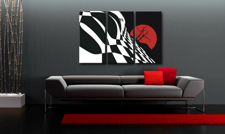 Tablou pictat manual POP Art Abstract Chessboard 3-piese 120x80cm