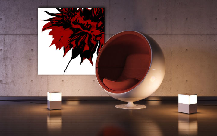 Tablou pictat manual POP Art Flower 1-piese 100x100cm