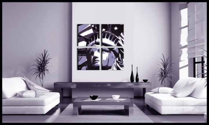 Tablou pictat manual POP Art Kip Slobody 4-piese 100x100cm