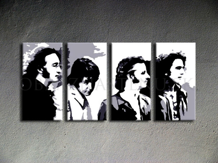 Tablou pictat manual POP Art Beatles 4-piese 160x80cm