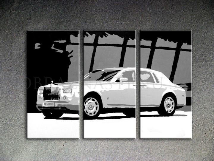 Tablou pictat manual POP Art BENTLEY 3-piese 120x80cm