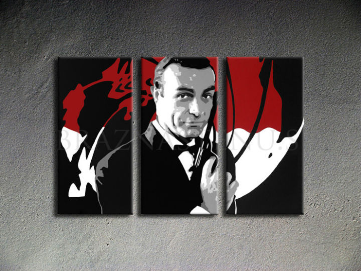 Tablou pictat manual POP Art James Bond 3-piese 120x80cm
