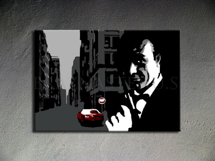 Tablou pictat manual POP Art James Bond 1-piese 100x70cm