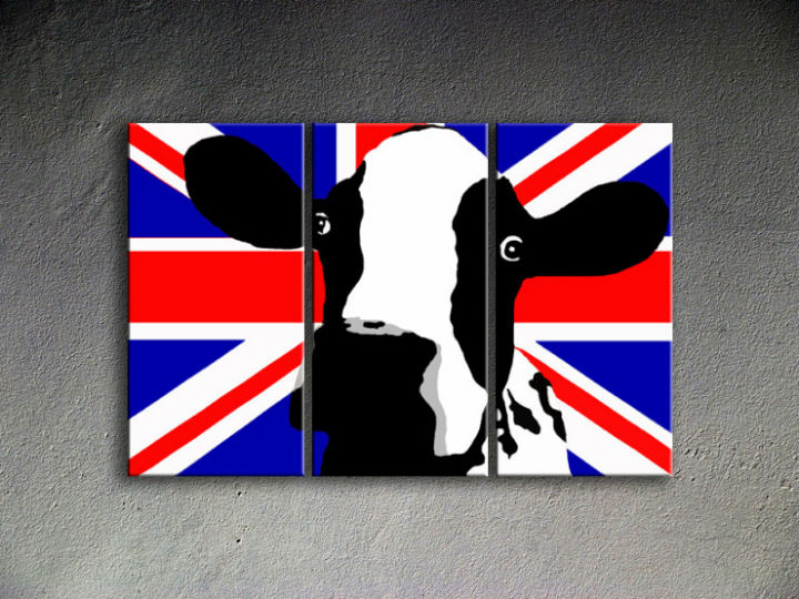 Tablou pictat manual POP Art Cow 3-piese 120x80cm