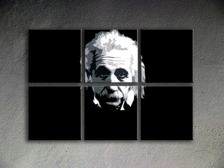 Tablou pictat manual POP Art  Einstein 6-piese 150x100cm