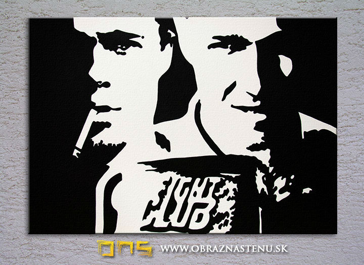 Tablou pictat manual POP Art Fight Club 100x80 cm