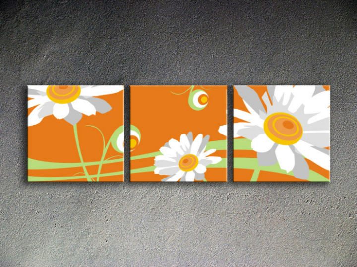 Tablou pictat manual POP Art Flower 3-piese 150x50cm