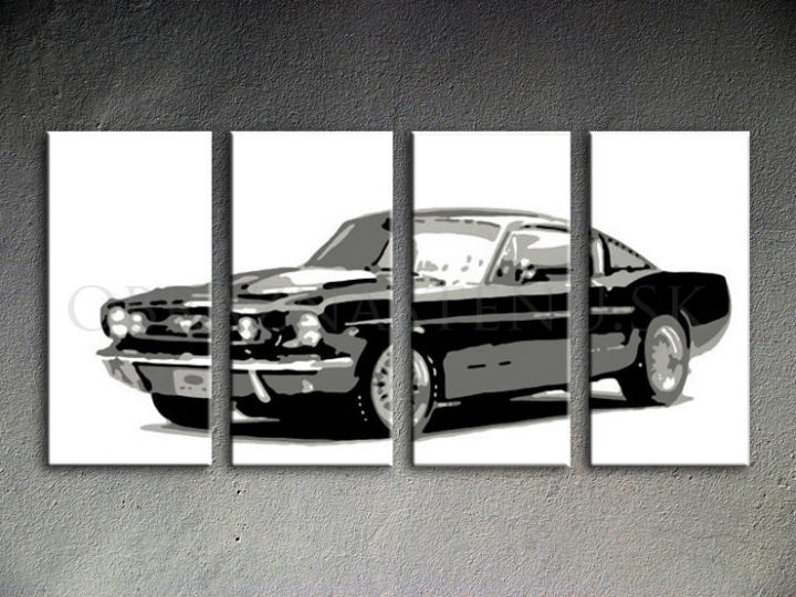 Tablou pictat manual POP Art Ford Mustang 4-piese 160x80cm