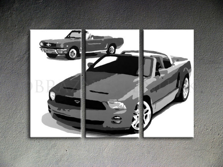 Tablou pictat manual POP Art FORD MUSTANG 3-piese 120x80cm