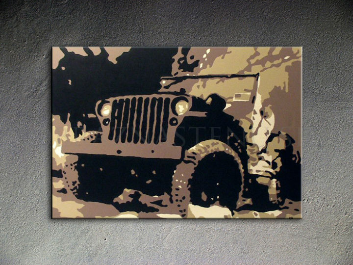 Tablou pictat manual POP Art JEEP 1-piese 120x80cm