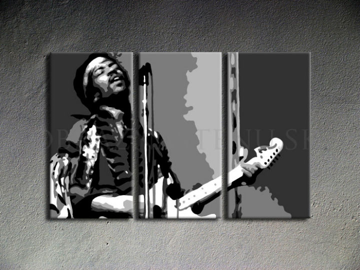 Tablou pictat manual POP Art Jimmy Hendrix 3-piese 120x80cm