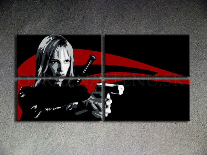 Tablou pictat manual POP Art Kill Bill 4-piese 160x80cm