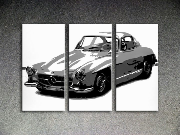 Tablou pictat manual POP Art MERCEDES SL300 3-piese 120x80cm