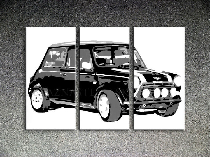 Tablou pictat manual POP Art MINI COOPER 3-piese 120x80cm