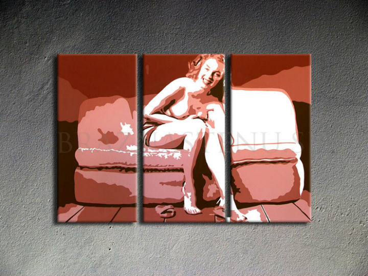 Tablou pictat manual POP Art Marilyn Monroe 3-piese 120x80cm