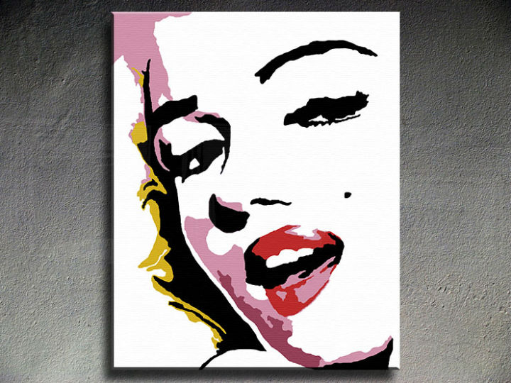Tablou pictat manual POP Art Marilyn Monroe 1-piese 80x100 cm