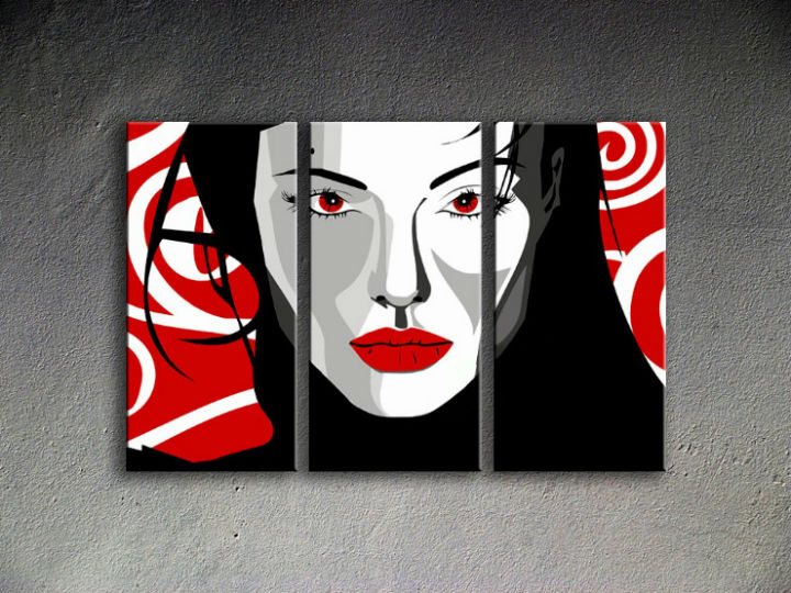 Tablou pictat manual POP Art Nice WOMAN 3-piese 120x80cm